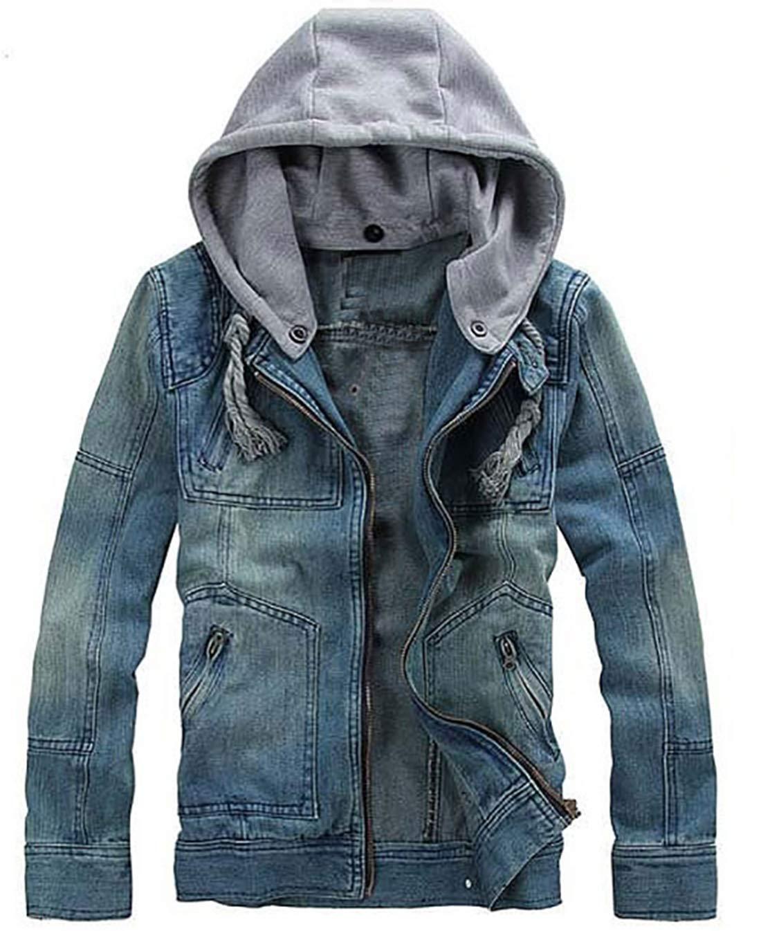 XueYin Men's Denim Jacket Slim Fit Plus Size(Light Blue,M Size) by XueYin