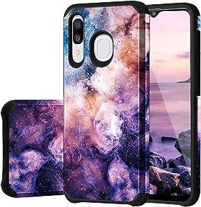 "Fingic Samsung Galaxy A20 Case, Galaxy A50 Case/ A30 Case, Nebula Design Hybrid Hard PC Soft Rubber Bumper Anti-Scratch Shockproof Protective Case Cover for Samsung Galaxy A50/ A30/ A20 6.4"" (2019)"