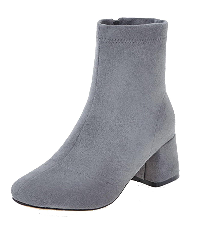 a29ad42b4f62b AgeeMi Shoes Donna Tacco a Blocco Scarpe a Chiusa Cerniera Inverno Stivali   Amazon.it  Scarpe e borse