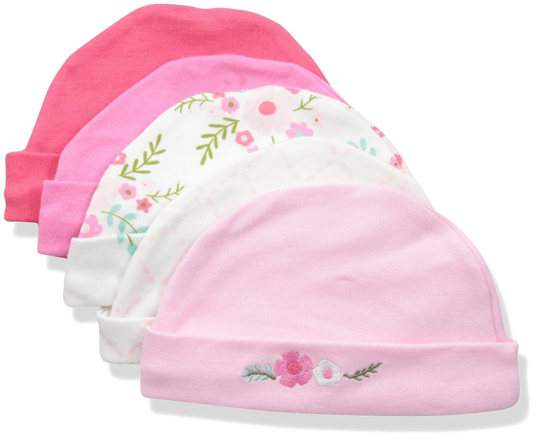 Luvable Friends Baby Caps, 5 Pack, Blue Train 0-6 Months 34565