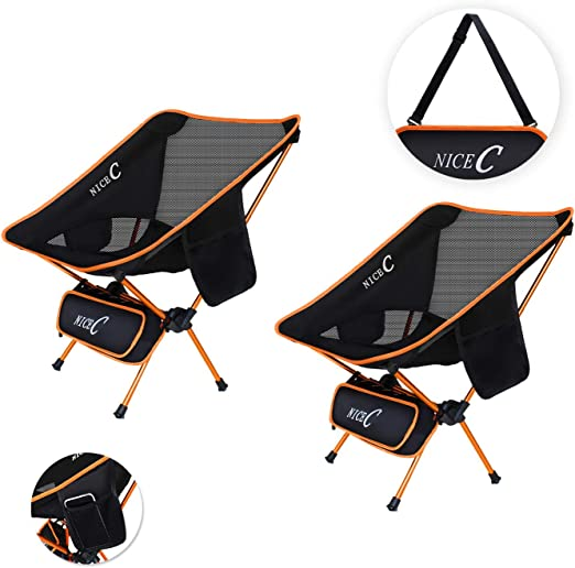 Outdoor 1 Pack of Green Beach Picnic Backpacking Compact /& Heavy Duty Outdoor BBQ Travel Festival with Carry Bag with Headrest Camping NiceC Ultralight High Back Folding Camping Chair