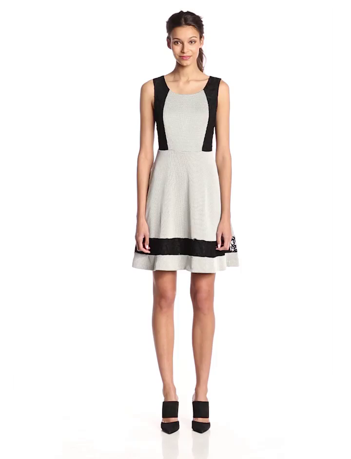 Jessica Simpson Women's Sleeveless Texture Knit Fit and Flare Dress, Black/Ivory, 12