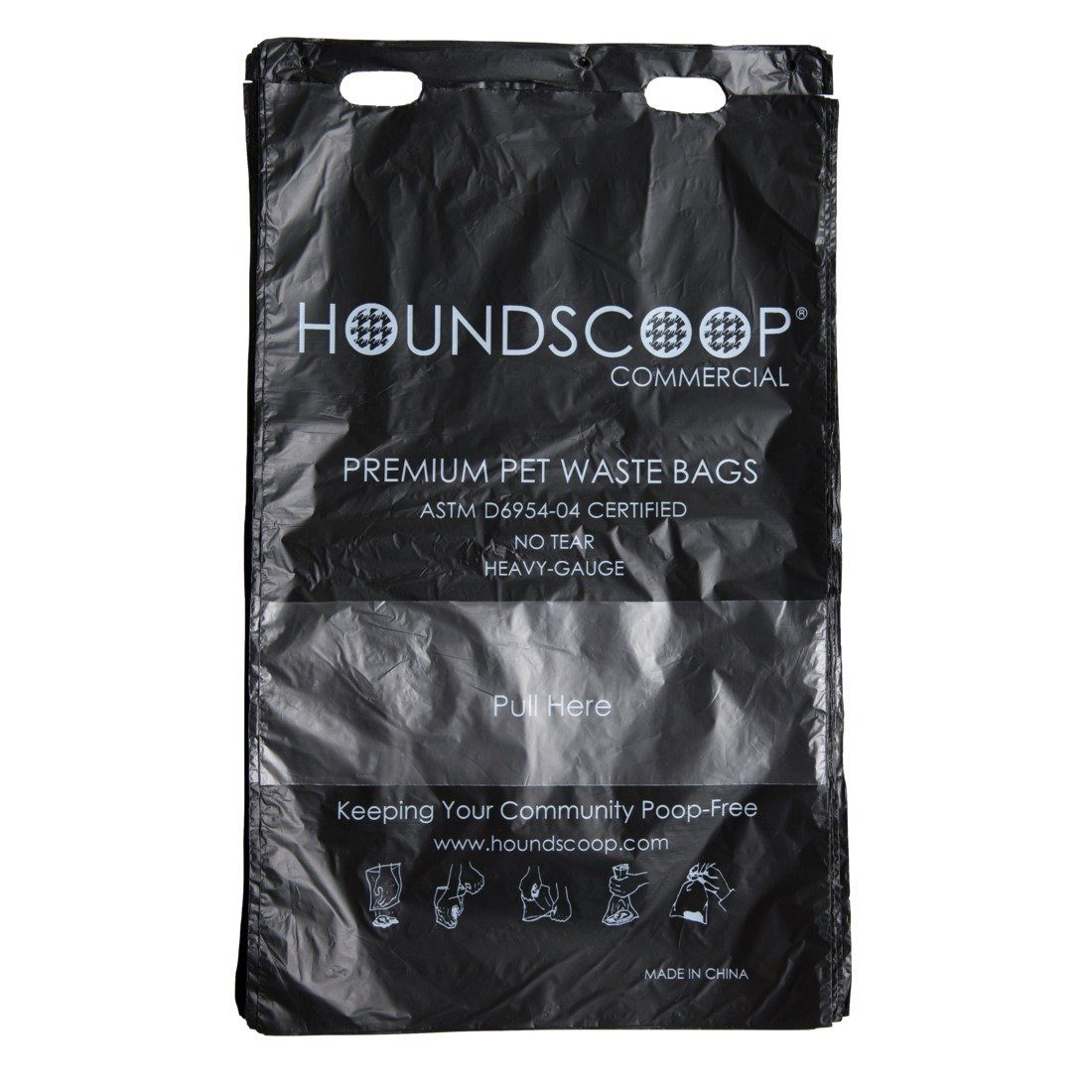 HOUNDSCOOP Case of 3200 header bags (32 packs of 100 bags with Pull-Strap)