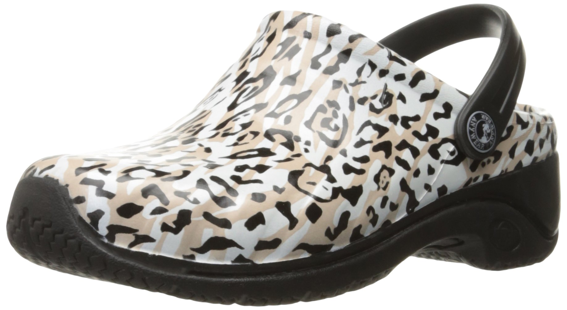 Anywear Women's Zone Health Care and Food Service Shoe, Black/White/Tan, 6 M US