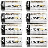 8 Piles Batterie Rechargeable RCR123A CR123A 3.7V 3600mAh Li-ION ACCU   IDÉAL pour Les Camera Arlo VMS3030/3130/3230/3330/3430…