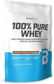 BioTechUSA 100% Pure Whey Complejo de proteína de suero, con aminoácidos añadidos y edulcorantes, sin conservantes, 454 g, Chocolate-Coco