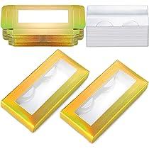 24 Juegos Cajas de Embalaje de Pestañas de Láser Holográfico Contenedor Estuche de Papel de Pestañas Falsas con 24 Bandejas de Pestañas Transparente para Cosméticos Pestañas Postizas (Oro Láser): Amazon.es: Belleza