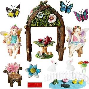 BangBangDa MiniatureFairy Garden Decorations-Supplier – Fairy Garden Accessories Kit for Trellis Arbor Arch Gate for Indoor Outdoor Flower Garden Decor Fairy Fairies Figurine Table Chair Mushroom