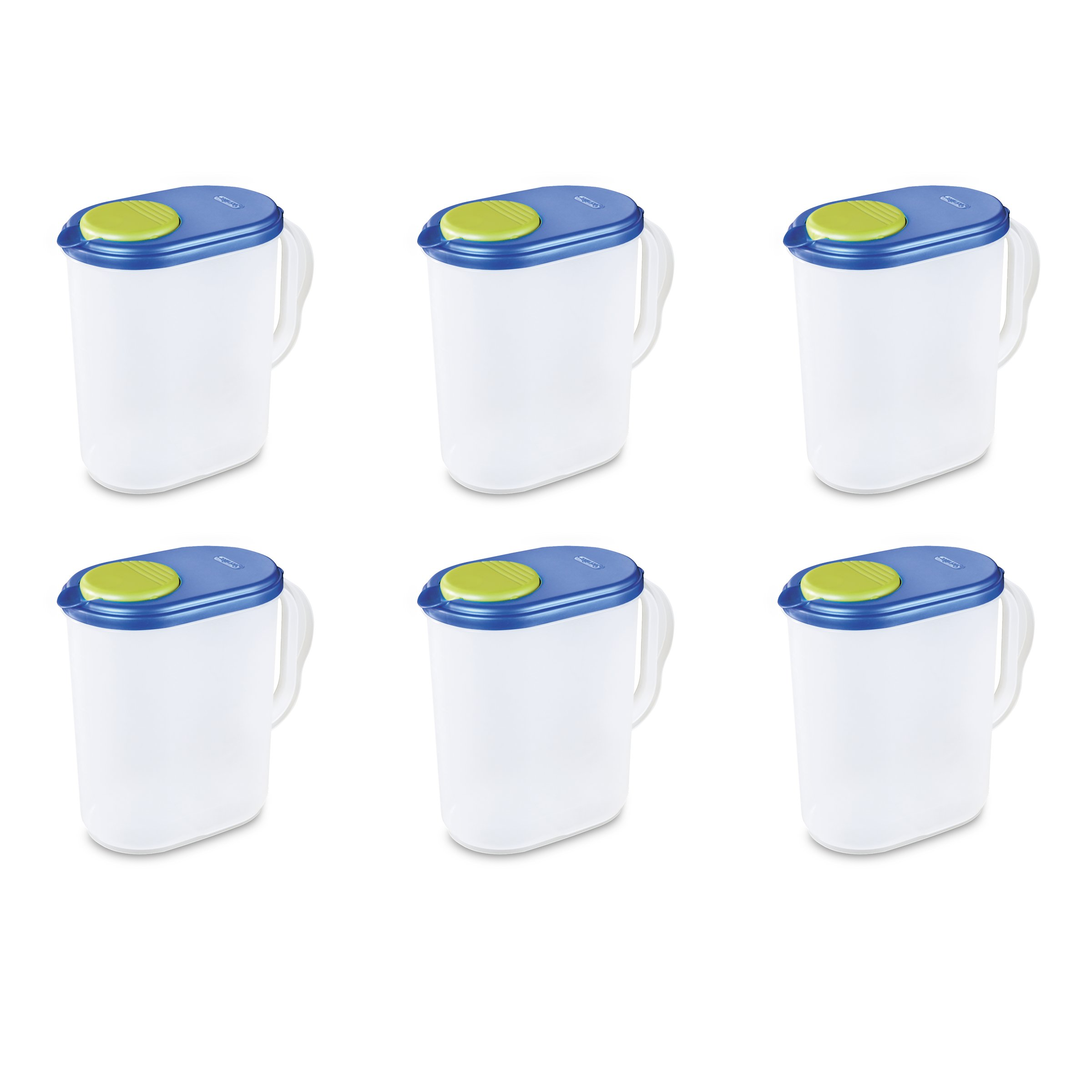 Sterilite 04904106 1 Gallon Pitcher, Blue Sky Lid w/ Lime Tab & Clear Base, 6-Pack