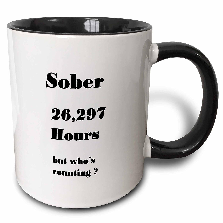 3dRose 233719/_4Image of Sober 3 Years Or 26297 Hours Two Tone Mug Black 11 oz
