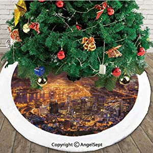 Cape Town Panorama at Dawn South Africa Coastline Roads Architecture Twilight,Christmas Tree Skirt Mat,Marigold Blue Pink,30 inches,Merry Christmas for Party and Holiday