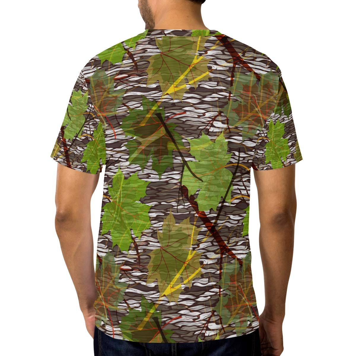Horatiood Huberyyd Camo Hat Pattern Maple Leaves Mens T Shirts Graphic Funny Body Print Short T-Shirt Unisex Pullover Blouse
