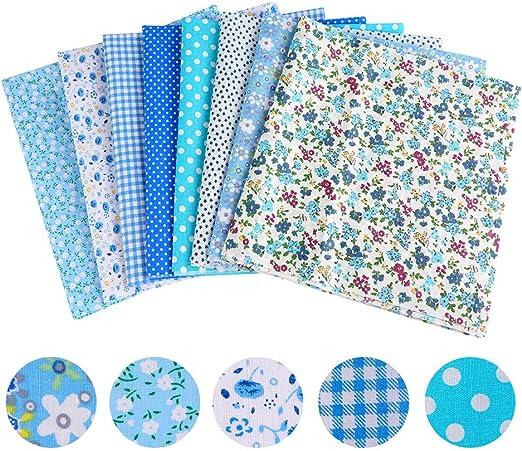 Souarts - 8 Piezas Mixtas de Tela de algodón con diseño para Manualidades, Patchwork, artesanía, Costura, Color Azul, 50 x 50 cm: Souarts: Amazon.es: Hogar