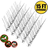 Remiawy Bird Spikes for Pigeons Small Birds Cat,Anti Bird Spikes Stainless Steel Bird Deterrent Spikes-Cover 15 Feet