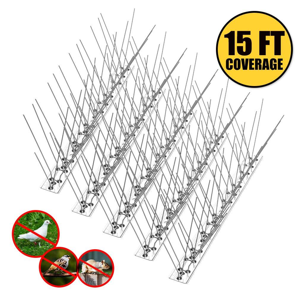 Remiawy Bird Spikes for Pigeons Small Birds Cat,Anti Bird Spikes Stainless Steel Bird Deterrent Spikes-Cover 15 Feet (14 Pack)