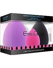 EmaxDesign 3 pièces Blender éponge de maquillage, fond de teint Blush Estompeur Correcteur Yeux Visage Poudre Crème Maquillage sponges. sans latex, hypoallergénique et sans odeur.