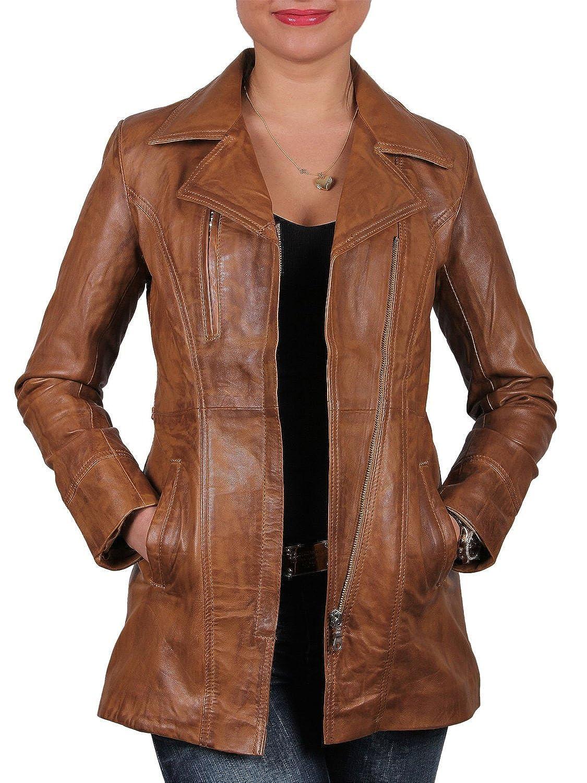 Brandslock Vintage Womens Long Real Leather Biker Jacket