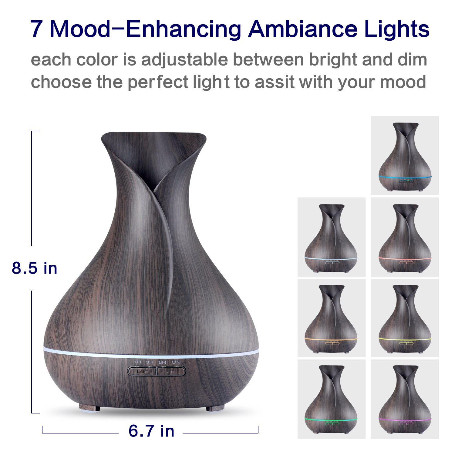 OliveTech Aroma Essential Oil Diffuser 400ml Ultrasonic Cool Mist Humidifier with Color LED Lights