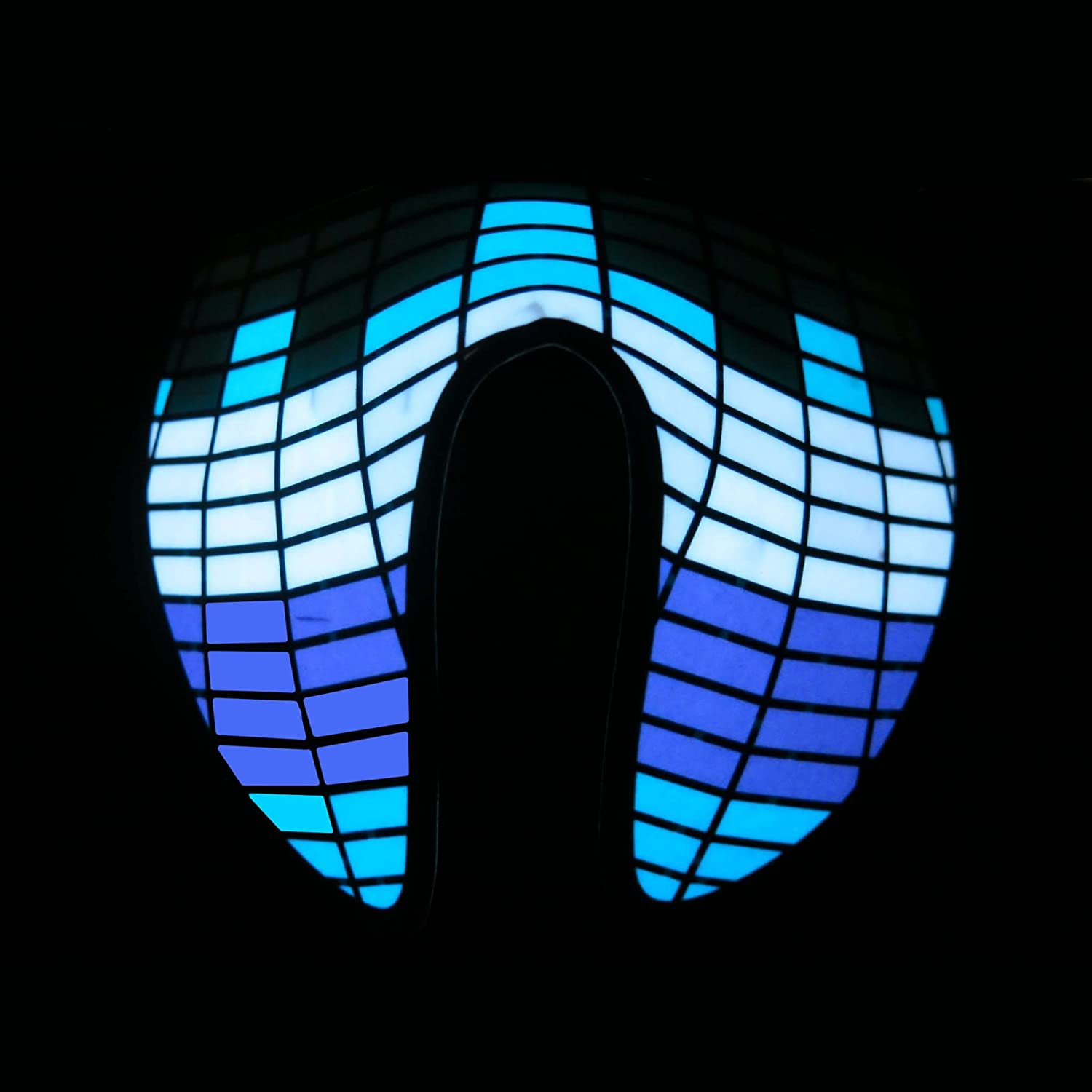 Glowing Blue Robot Visor With Driver Carnival festival Sound Activated