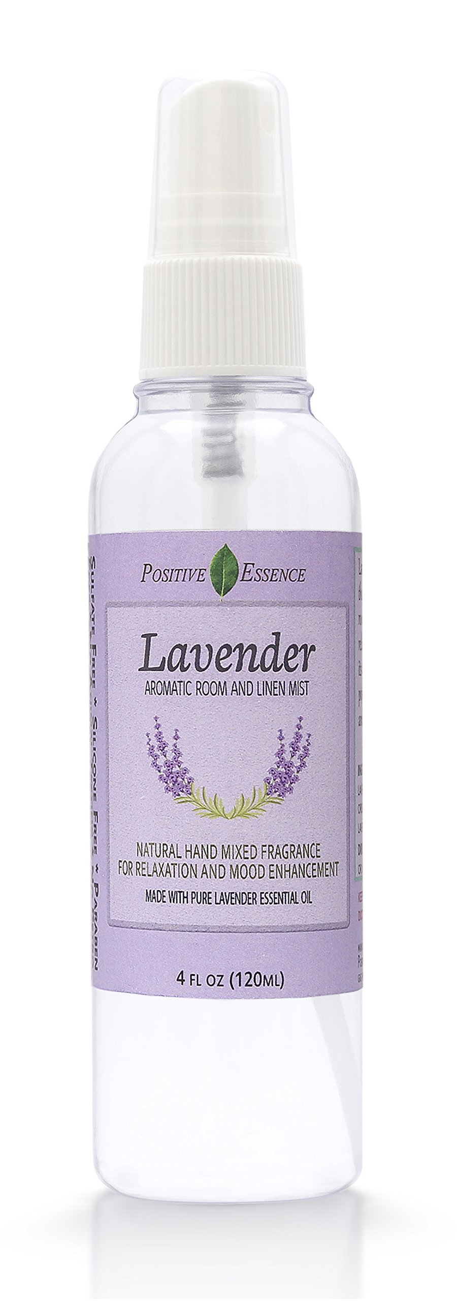 Positive Essence Lavender Linen & Room Spray - Natural Aromatic Mist Made with PURE LAVENDER ESSENTIAL OIL - Relax Your Body & Mind – Refreshing Non-Toxic Air Freshener Odor Eliminator by Positive Essence (Image #1)