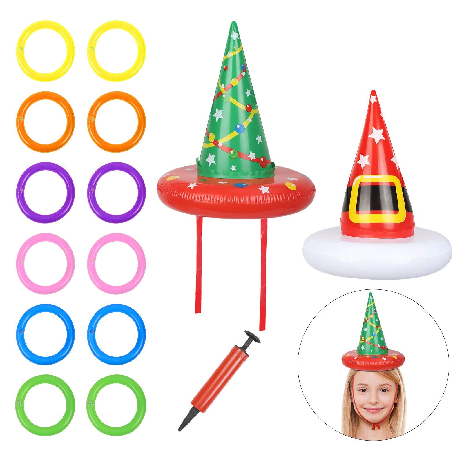 TAZEMAT Toss Game Ring 2 Pcs Inflatable Hat with 12 Pcs Inflatable Throwing Rings Kids Adults Indoor Outdoor Novelty Throwing Hoop Game Party Favors Supplies Fun Toys Gifts