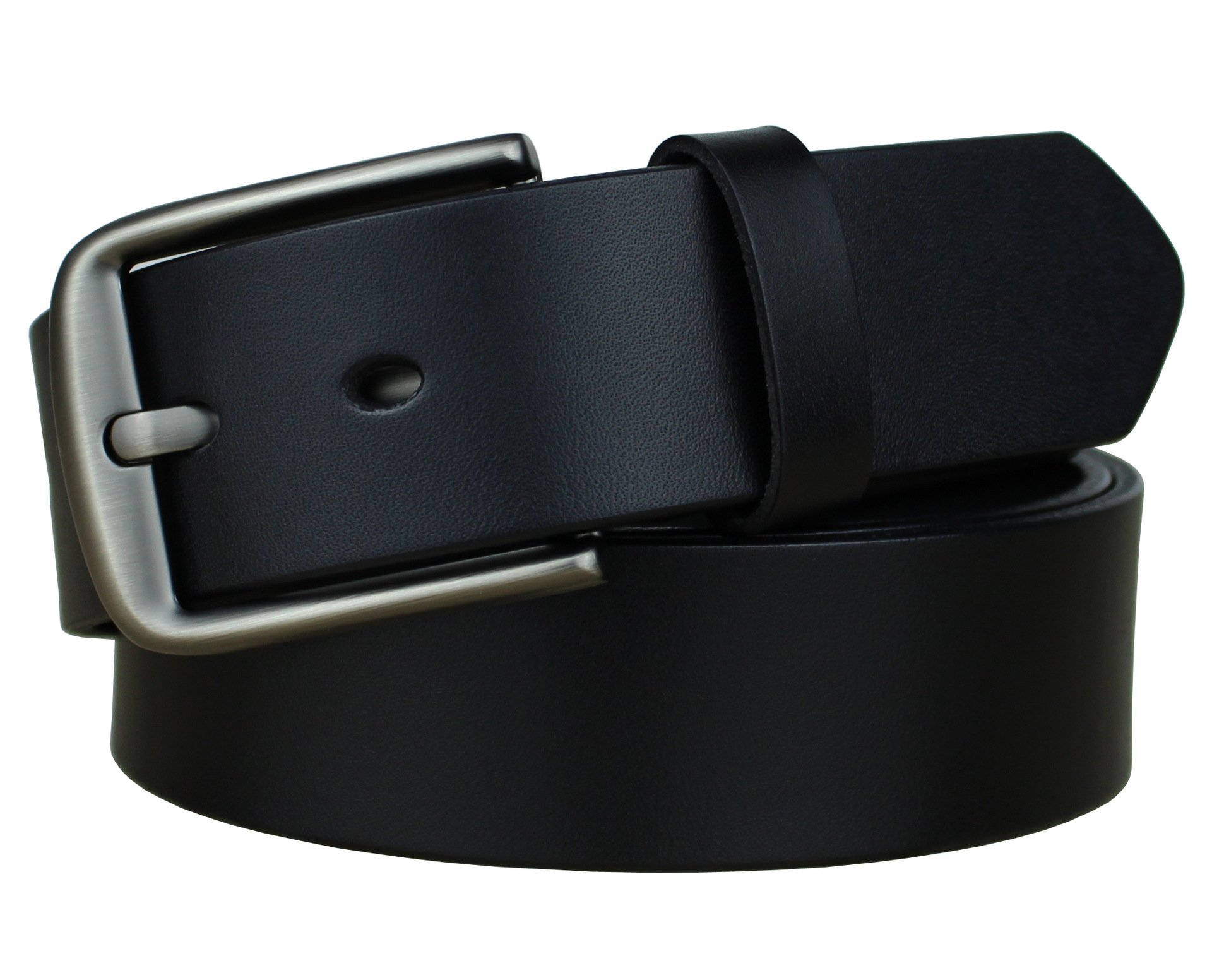 Bullko Mens Casual Genuine Leather Dress Belt Jean Classic Buckle Black 36-38