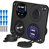 Kohree 12V Marine Car Charger Socket Panel, 4 in 1 Waterproof Boat Cell Phone Rocker Switch Panel with 12 Volt Dual USB Power