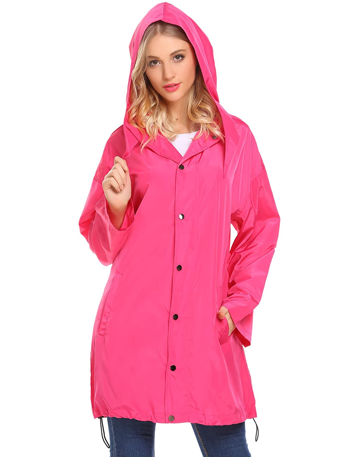 9ab3a4138d1 Amazon.com  Unibelle Waterproof Lightweight Rain Jacket Active Outdoor  Hooded Raincoat for Womens  Clothing