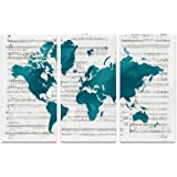 Amazon old sheet music world map artwork by michael tompsett sumgar large wall art for living room canvas painting of modern teal blue music world map gumiabroncs Choice Image