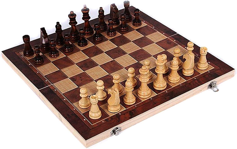 LUJIAN 자기 체스트 접이식 자기 여행 체 설정에 대한 아이들이나 성인 나무로 되는 국제 체스판 게임 29X29CM 체스트