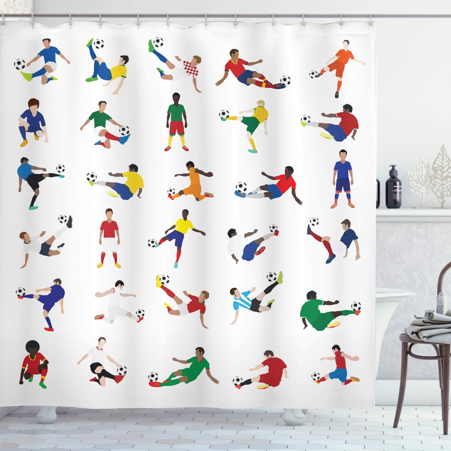 Ambesonne Sports Shower Curtain, Group of Soccer Players League Pastime Practicing Different Poses Training, Cloth Fabric Bathroom Decor Set with Hooks, 75
