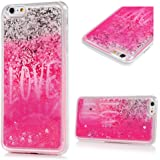 "iPhone 6S/6 Plus Case (5.5"") - Flowing Liquid Floating Bling Glitter Sparkle Love Hearts Shockproof Soft TPU Skin Cover Cute Painting Lightweight Slim-Fit Protective Cover by Badalink - Silver/Pink"