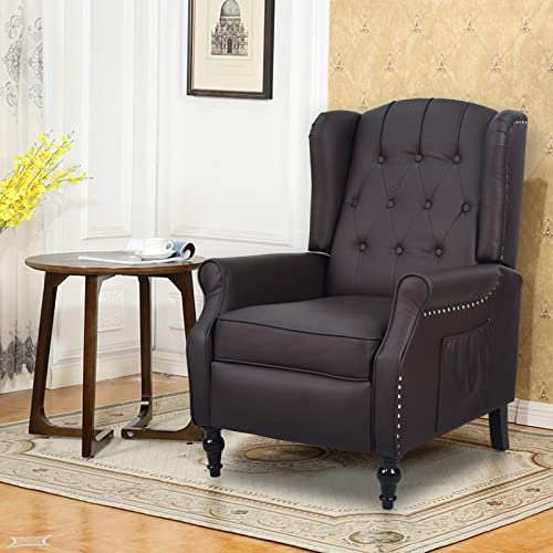 Apepro Tufted Wingback Chair Arm Chair Accent Chair,Wall Hugger Recliners Vintage Style,Pushback Fabric Recliner Chair