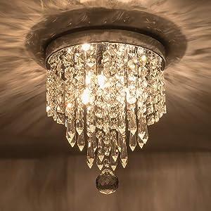 Riomasee Mini Chandelier Flush Mount Crystal Ceiling Light 3 Lights Modern Chrome Crystal Light Fixtures for Bedroom,Hallway,Closet,Girls Room,Kitchen