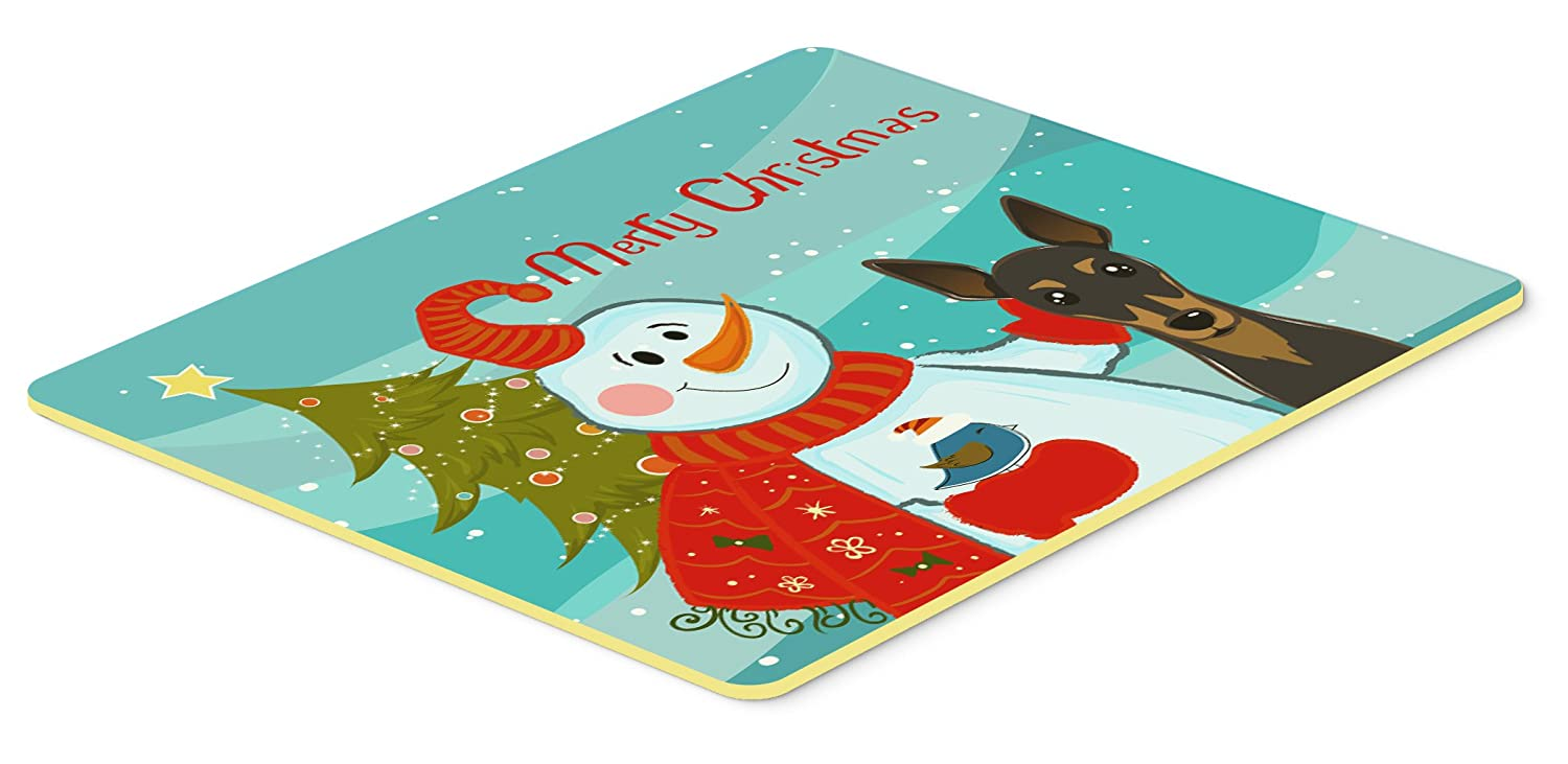 24 by 36 Multicolor Carolines Treasures Snowman with Min Pin Kitchen or Bath Mat 24x36 BB1860JCMT