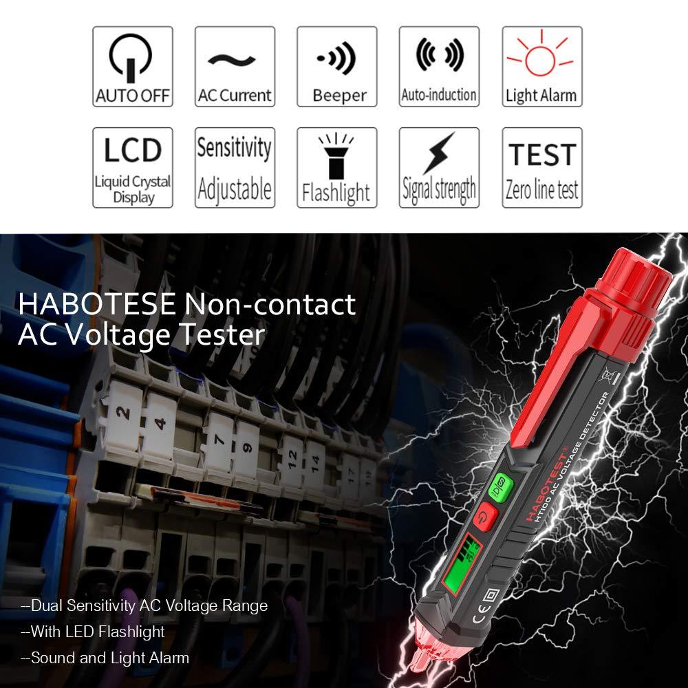 Festnight HABOTEST Detector de voltaje de CA sin contacto port/átil Detector de alerta en forma de V with con sonido y luz