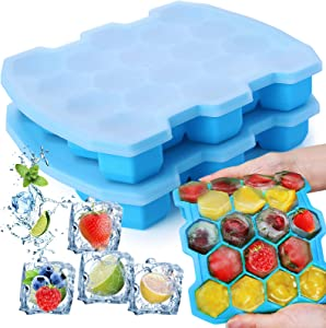 KIPRITII Silicone Ice Cube Trays with Sealed Lid Includes 36 Ice Cube, 2 Packs Easier-Released Ice Trays Molds (Blue)