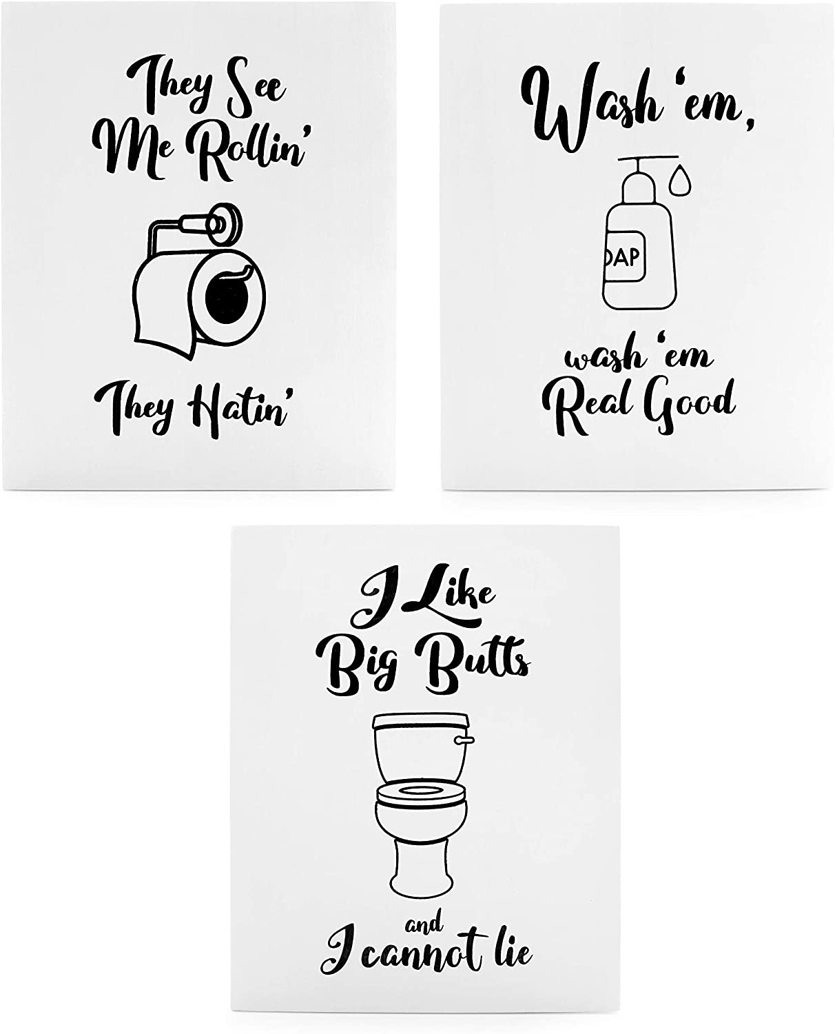 Amazon Com Wooden Funny Bathroom Signs Set Of 3 Cute Humorous Wall Art Each 10 X 8 Inches Home Kitchen
