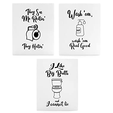 Wooden Funny Bathroom Signs (Set of 3); Cute Humorous Wall Art Each 10 x 8 Inches