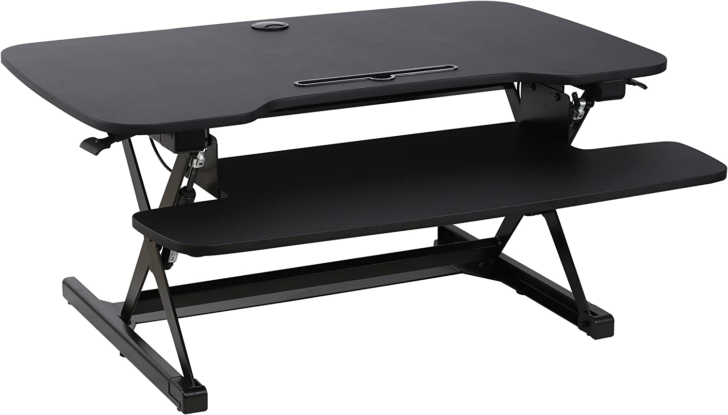 Poly and Bark Crafron Sit-to-Stand Desk Extra Wide 38.5 with Dual Monitor Capabilities and 17.5 Max Height in Black