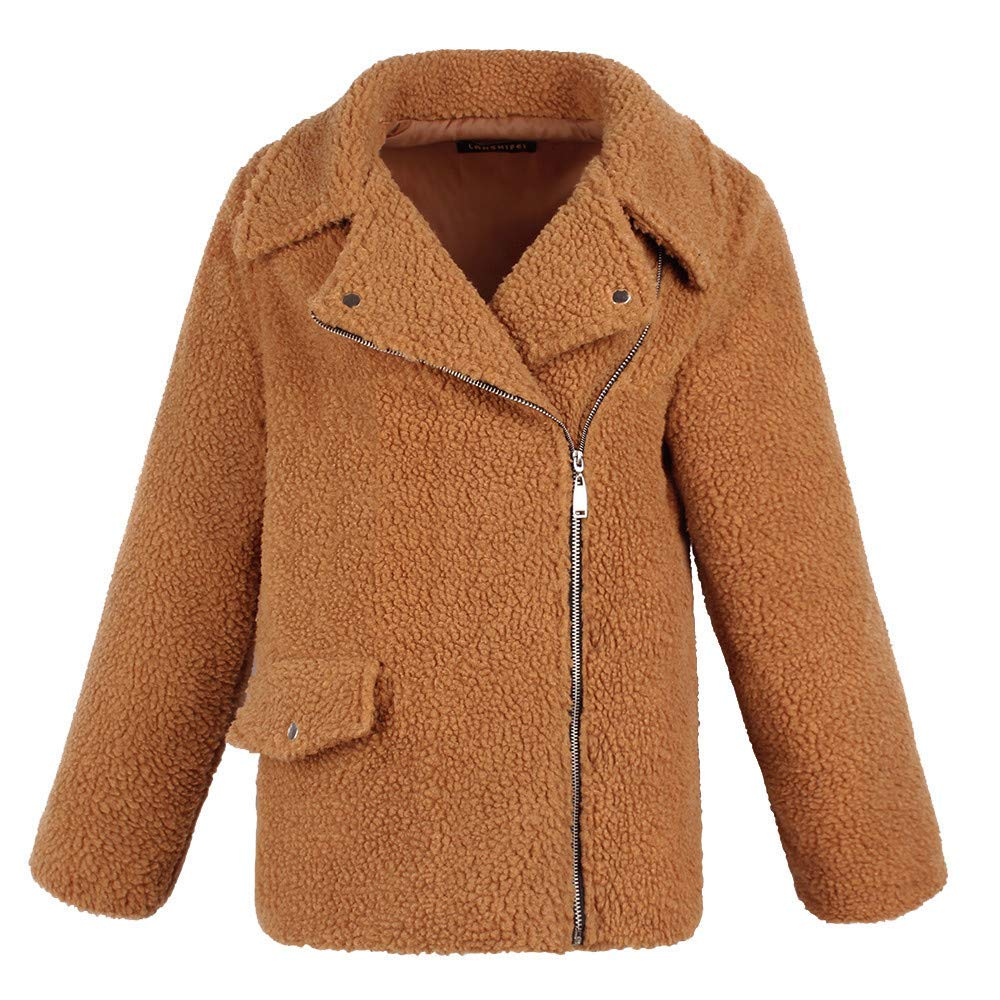 brown Women's Ladies Warm Artificial Wool Coat Zipper Jacket Winter Parka Outerwear Fashion Cosy Wild Tight Super Quality Black Brown Pink for Womens (color   pink, Size   XXL)