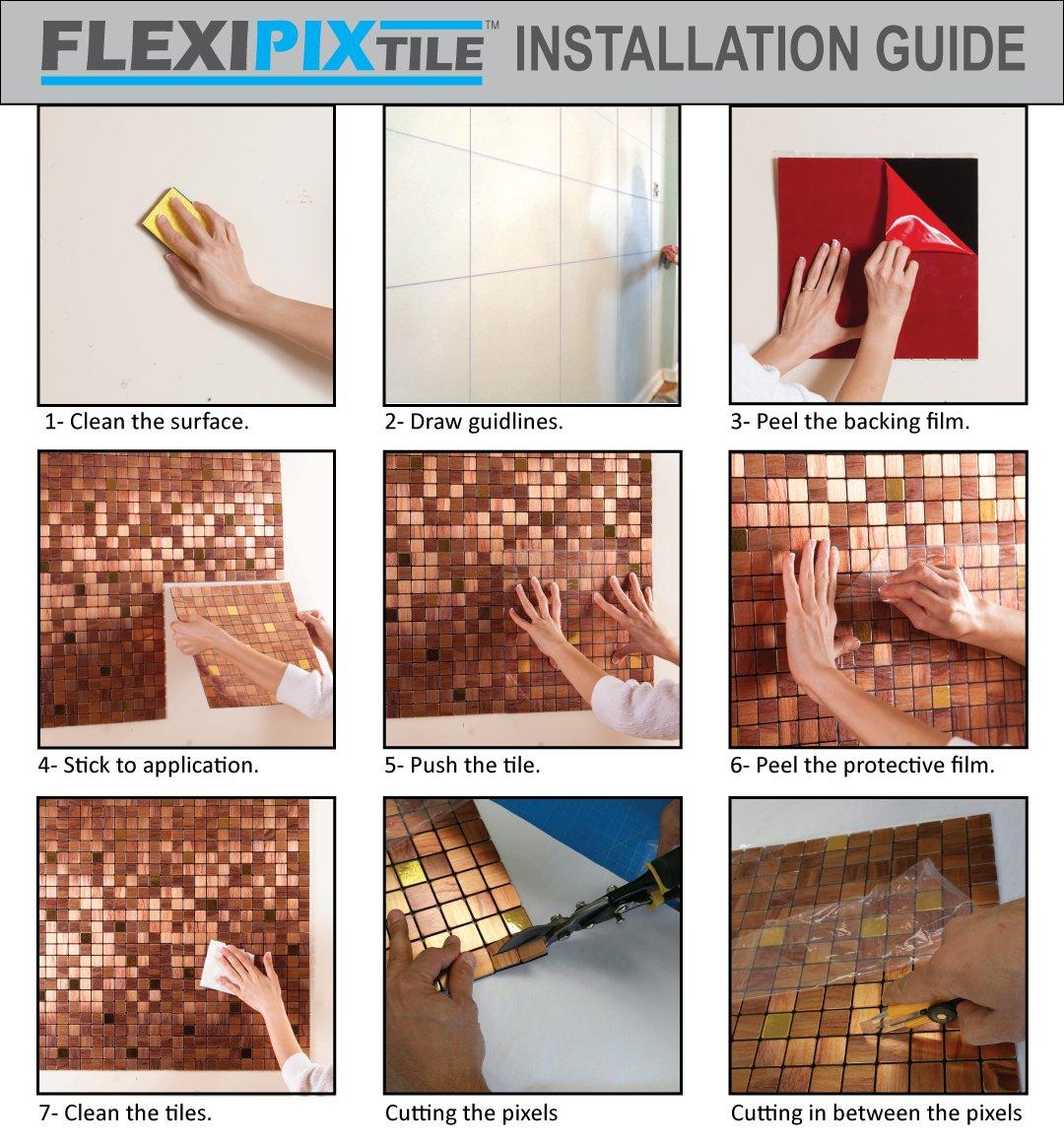 amazon com flexipixtile modern aluminum mosaic tile peel amazon com flexipixtile modern aluminum mosaic tile peel stick backsplash accent wall 1 sq ft the palace home kitchen