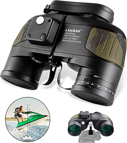LAKWAR Power Binoculars 10×50 for Long Distance Compact Binoculars for Adults with Rangefinder Compass High Grade Binoculars BAK4 Prism Waterproof Fogproof for Birdwatching, Hunting