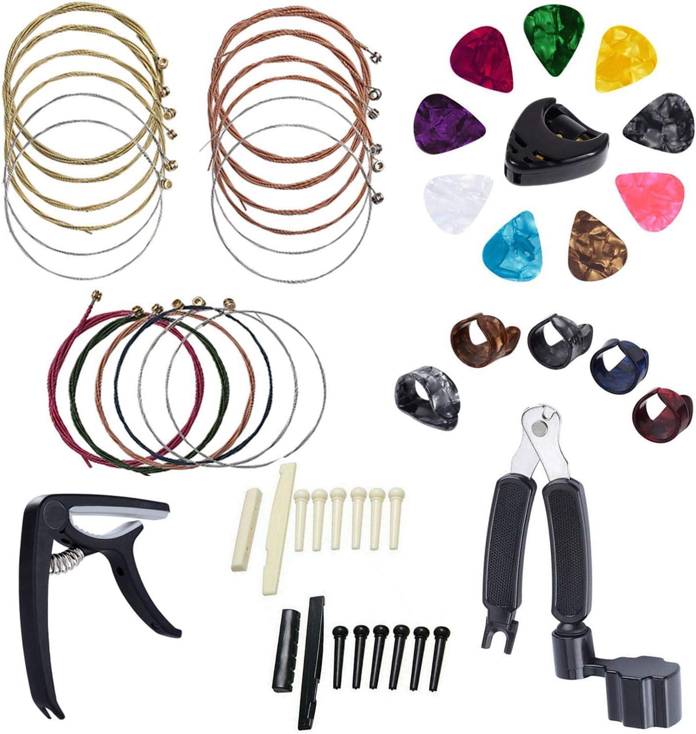 Sandis Kit de Accesorios para Guitarra de 34 Piezas Incluyendo PúAs de Guitarra, Enrollador de 3 en 1 Cuerda, SillíN de Puente de Hueso de 6 Cuerdas y Nuez Selecciones de Dedo