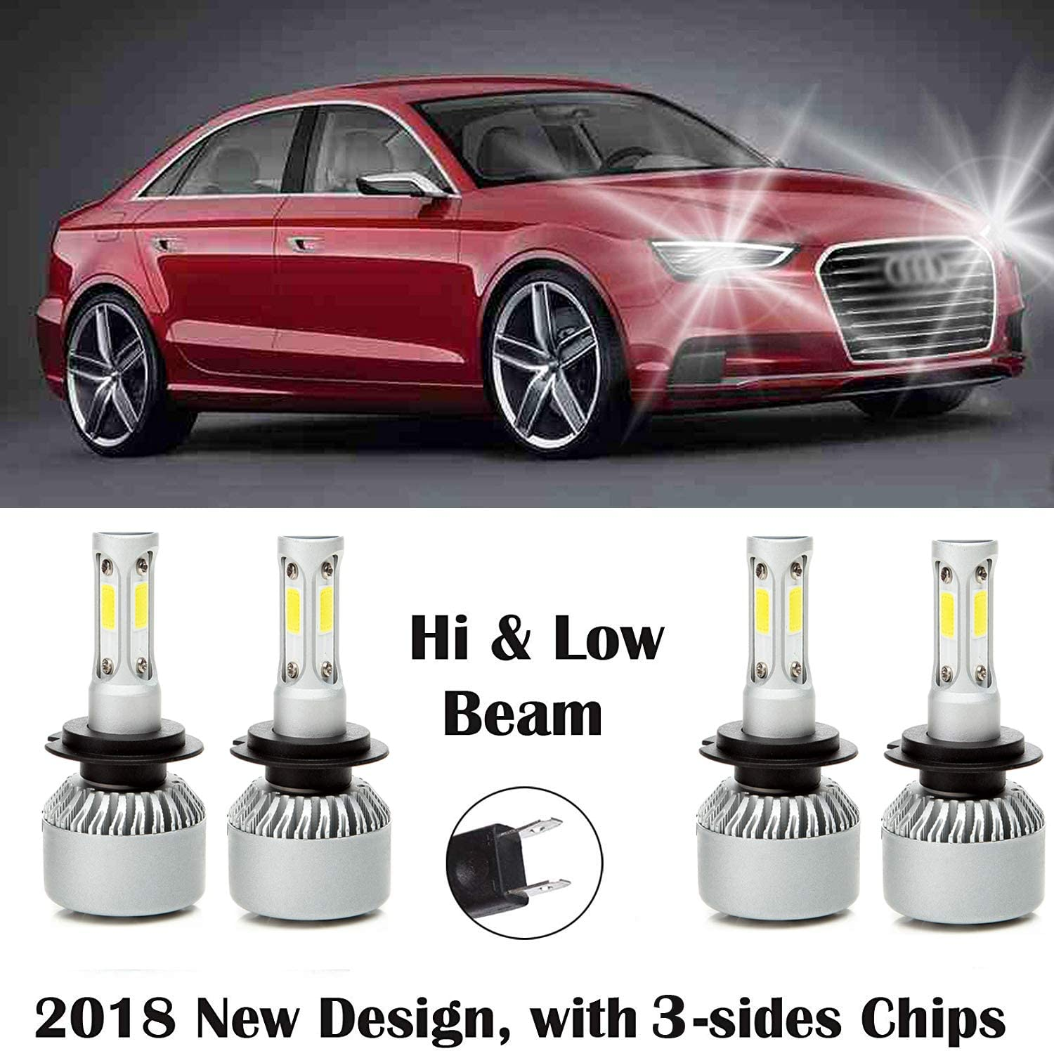 6000K 32000LM Super Bright White Light Autobaba 4Pcs H7 LED Headlights Bulbs High /& Low Beam Combo Kit for Audi A3 2009-2013 Plug and Play 2 Year Warranty