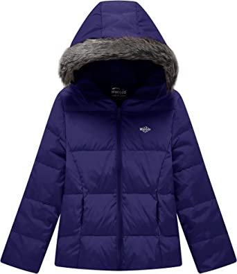 Girls Long Down Jacket Fur Collar Hooded Lightweight Winter Overcoat