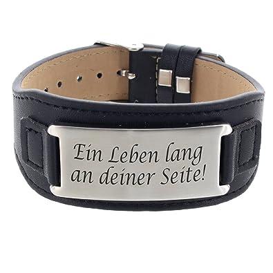 Lederarmband mit gravurplatte  Lieblingsmensch Lederarmband mit Gravurplatte - Ein Leben lang an ...