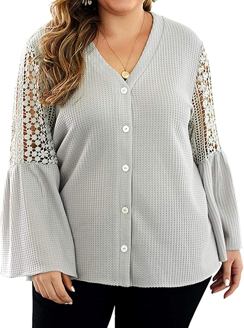 ROSESTAR Women Plus Size Waffle Tops Blouse Button Down V Neck Long Sleeve Lace Patch Loose Oversize Tops Shirts XL-4XL Gray