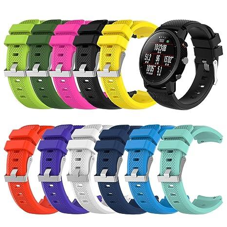 LANSKIRT Suave Silicagel Correa de Reloj Deportivo Recambio Brazalete Extensibles Pulsera para HUAMI Amazfit Stratos Smart Watch 2: Amazon.es: Relojes