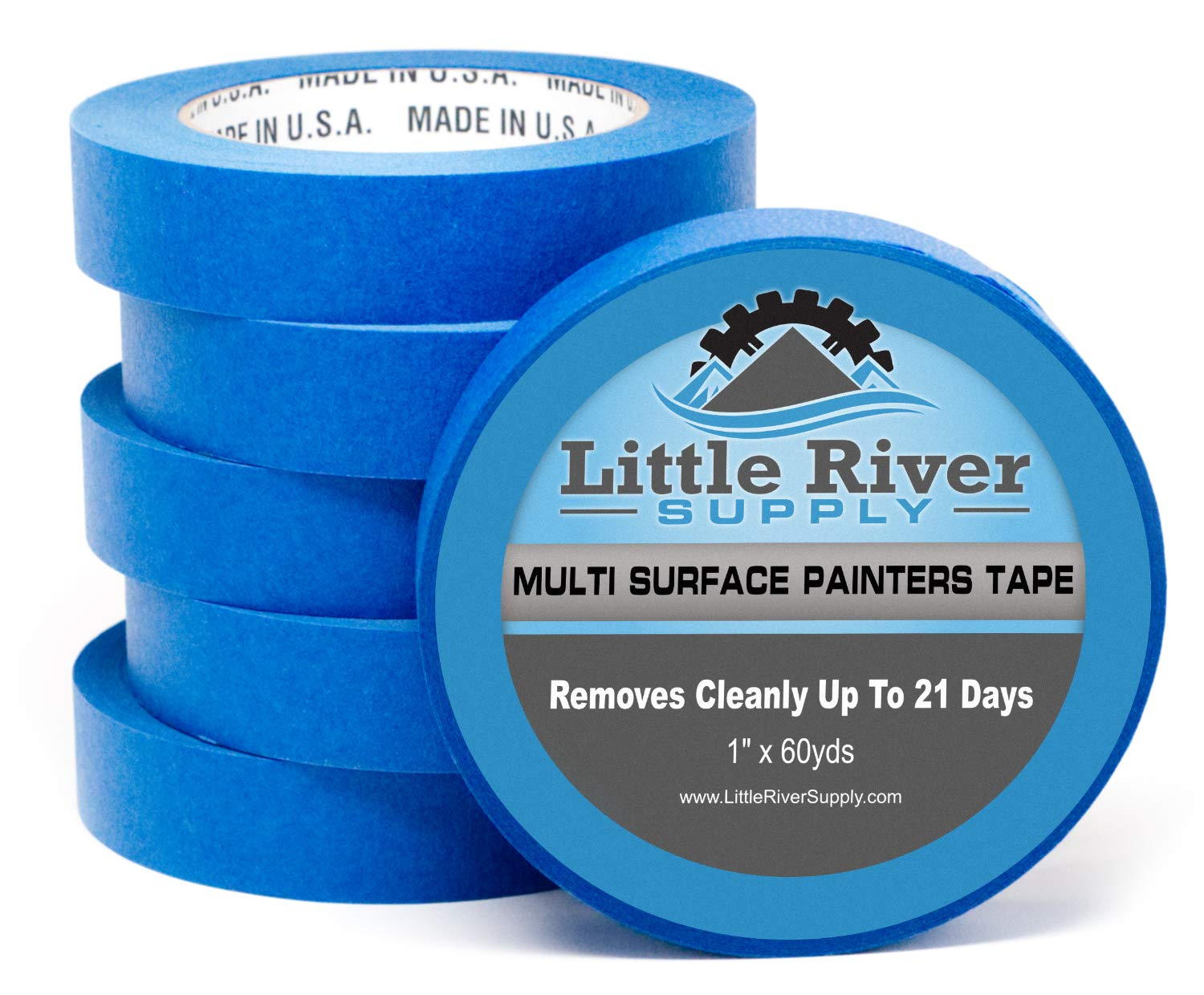 Little River Supply Blue Painters Tape 1 Inch Professional Quality Multi-Surface Masking Tape Clean Edges and Easy Release Made in The USA 1 X 60 YDS Pack of 6
